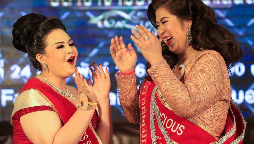"""泰国举办""""巨型小姐""""选美比赛 以胖为美"""
